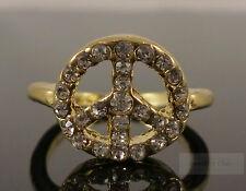 Gold Retro Peace Hippie Boho Sign Symbol Crystal Costume Jewellery Ring