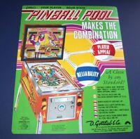 Pinball Pool Gottlieb Pinball FLYER Original 1979 NOS Game Artwork Promo Sheet