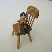 Dollhouse ARTISAN CHAIR WOODEN PEG DOLL Artist Primitive Shabby Chic Grodnertal