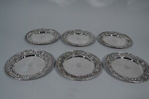 Kirk Plates - 28 - Set 6 Antique Baltimore Repousse - American Sterling Silver