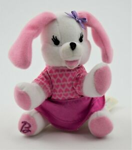 "2001 Barbie White Pink Doggy Puppy Bean Bag Plush w/ clothes 4 1/2"" Mattel Dog"