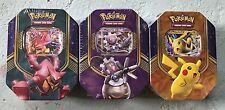 Pokemon 2016 Battle Heart Tins Set of 3 Pikachu Volcanion Magearna EX *NEW*