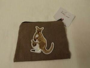 Kangaroo theme linen coin purse - new with tags