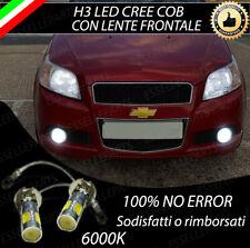 COPPIA LAMPADE FENDINEBBIA H3 LED CREE COB CANBUS PER CHEVROLET AVEO T250 6000K
