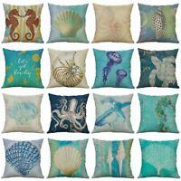 18''Sea Case Cushion Conch Printing Cotton Home Octopus Linen Cover Pillow Decor