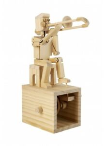 Trombone Player Wooden Model Kit Moving Automata Timberkits Natural Wood Band