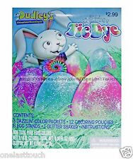 DUDLEY* 24pc Easter Egg GLITTER TIE DYE Non-Toxic Food Colors DECORATING KIT 1/2