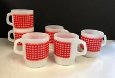 6  Vintage ANCHOR HOCKING FIRE KING Red Gingham CALICO PLAID STACKABLE Cup MUGS