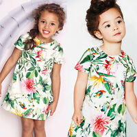 Kids Baby Girls Flower Dresses Princess Summer Party Pageant Tutu Dress Age 1-6Y