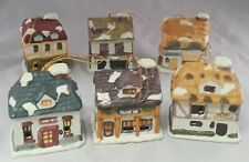 Victorian Village Bell Lites Porcelain Holiday Ornaments Set of 6 Oib