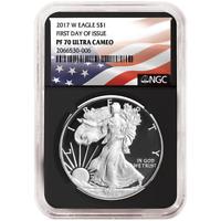 2017-W Proof $1 American Silver Eagle NGC PF70UC FDI Flag Label     Retro Core