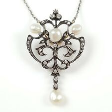 ANTIQUE EDWARDIAN SILVER, GOLD, PEARL, & DIAMOND PENDANT NECKLACE CIRCA 1900