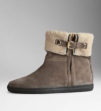 Burberry Gray Shearling Lined Suede Ankle Boots Snow Booties Size 39