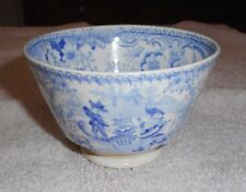 Antique Staffordshire Blue & White Handle Less Coffee Cup Venetian Scene