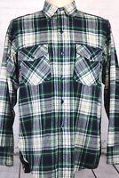 Woolrich Men's L, Green Blue Black Plaid Wool Blend Shirt, Long Sleeves