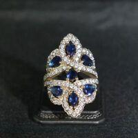 925 Sterling Silver Handmade Gemstone Turkish Sapphire Ladies Ring Size 6