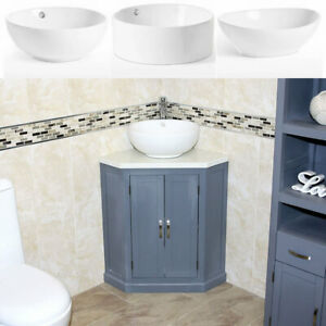 Grey Painted Bathroom Vanity Unit Corner Wash Stand White Quartz & Ceramic Basin