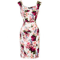 Hearts & Roses London Vintage Rose White Pink Floral 1950s Fitted Pencil Dress