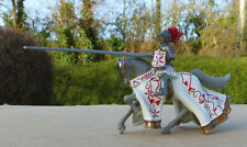 54mm Britains Jousting Knight, Grey Horse, White & Red
