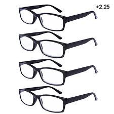Reading Glasses Unisex Readers Stylish Men Women Black 4 Pairs/Pack +2.25