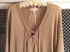 MICHAEL KORS Gold Metallic Knit LaceUp Top Blouse Tunic Sweater L / XL HOLIDAY