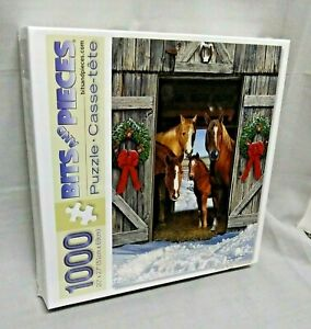 Horse Barn Christmas 1000 pc Holiday Scene by Russell Cobane Casse-tete 43078