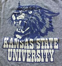 Vintage Kansas State University Gray T-Shirt Cotton/Rayon/Poly Sz L Made In USA