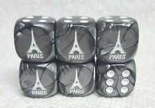 Dice>>16mm - *6* Chx Custom Eiffel Tower on Velvet Silver w/White - 20% Discount