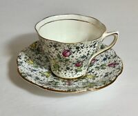 Vintage Rosina Tulips June Chintz and Dots Tea Cup and Saucer Set Bone China