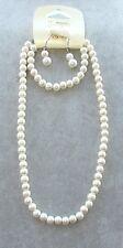 Parure di PERLE 8mm Collana Bracciale Orecchini Gioielli da Donna