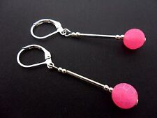 Glass Bead Dangly Leverback Earrings. New. A Pair Of Silver Plated Pink