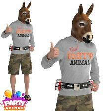 Adults Mens Novelty Jacka$$ Costume Animal Donkey Head Fancy Dress Plus Size