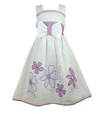 NUEVO Niñas Blanco y lila verano vestido de fiesta 10-11 AÑOS