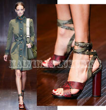 $1,250 GUCCI SHOES PYTHON LEATHER CANDY WRAP STRAPPY HIGH HEEL SANDALS 37 7