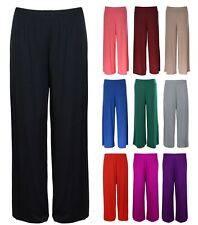 WOMENS LADIES PLAIN PALAZZO WIDE LEG FLARED TROUSERS PLUS SIZE BAGGY PANTS 8-26