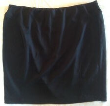 AGB Size L Comfortable Stretch Elastic Waistband Textured Jersey Miniskirt Black