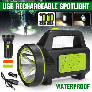 300000LM LED Searchlight Spotlight USB Rechargeable Hand Torch Work Light Lamps
