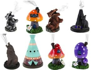 Incense cone burner GIFT wolf toadstool witch tree dragon Cauldron Lisa Parker
