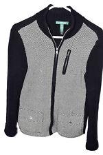 Ralph Lauren Women's Sz M Cardigan Jacket Knit Chevron Cotton Zipper Black White