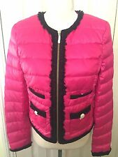 BNWT Juicy Couture Donne Rosa Imbottito Zip Giacca Invernale/Cappotto Misura S-RRP £ 205