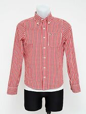 MENS HOLLISTER CASUAL SHIRT LONG SLEEVED 100 % COTTON RED CHECKED SIZE S SMALL