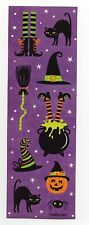 2 Sheets of Halloween Witch Cat Hat Broom Pumpkin Spider -9 Stickers on Page