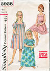 Simplicity 3938; ca.1962; Child's and Girl's Muu Muu in Two Lengths and Nightgow
