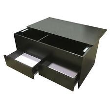 Coffee Table Slide Top Black Storage + 2 Drawers Ottoman Redstone