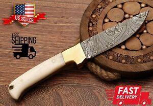 "Beautiful HAND FORGED DAMASCUS STEEL Hunting Skinner Knife ""Camel Bone Handle"""
