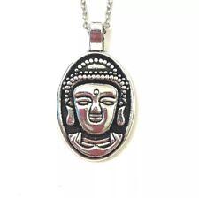 Buddha Pendant Necklace New Silver Tone Metal