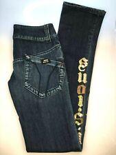 MISS SIXTY Ladies Blue Low Rise Straight Leg Appliqué Jeans 29W 38L UK 12 Tall