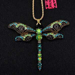 Betsey Johnson Blue Crystal Rhinestone Cute Dragonfly Pendant Long Necklace