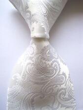 New Classic Paisley White JACQUARD WOVEN 100% Silk Men's Tie Necktie