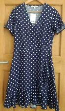 NEXT BLUE POLKA DOT FRILLED WRAP OVER SUMMER DRESS Size 6 NEW BNWT